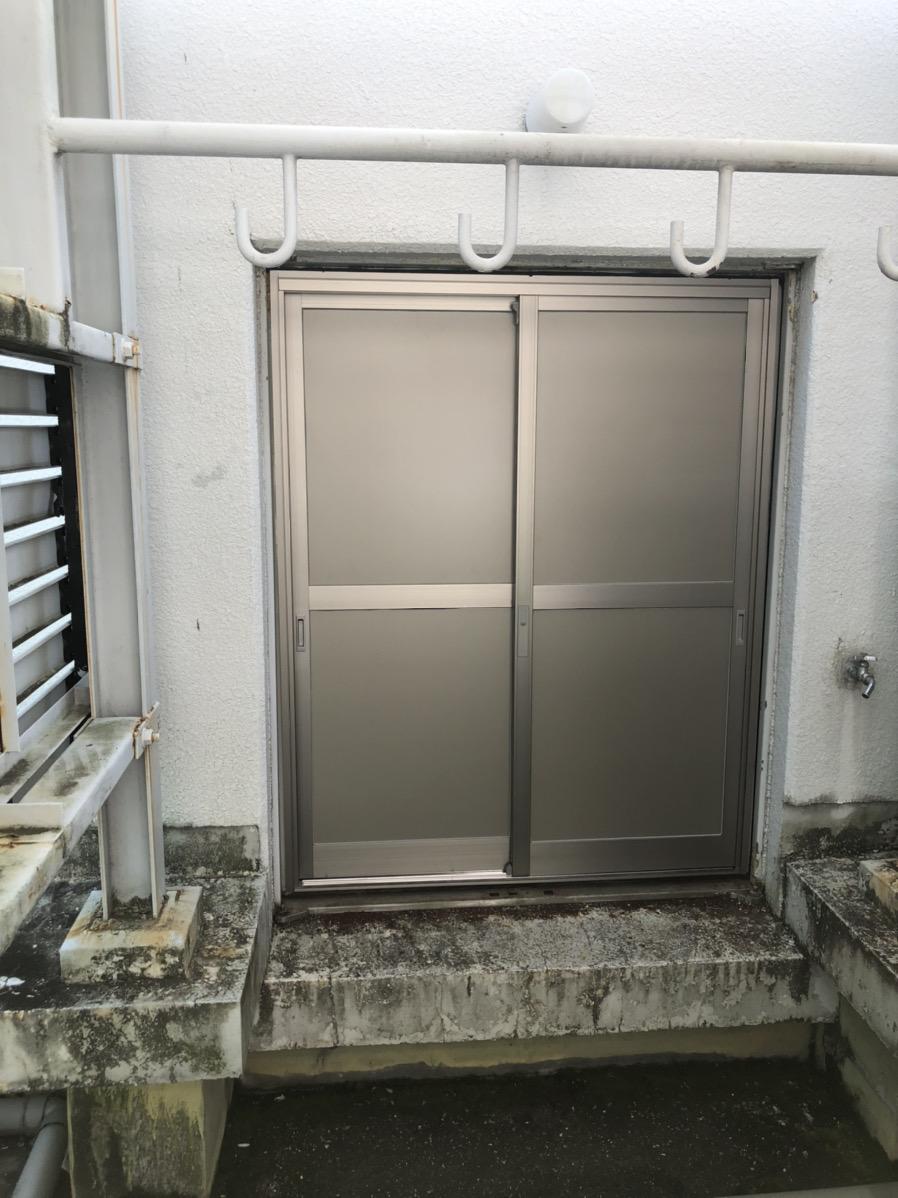 名古屋市中区 ペントハウスのスチールドア→引き違い戸リフォーム 取替工事