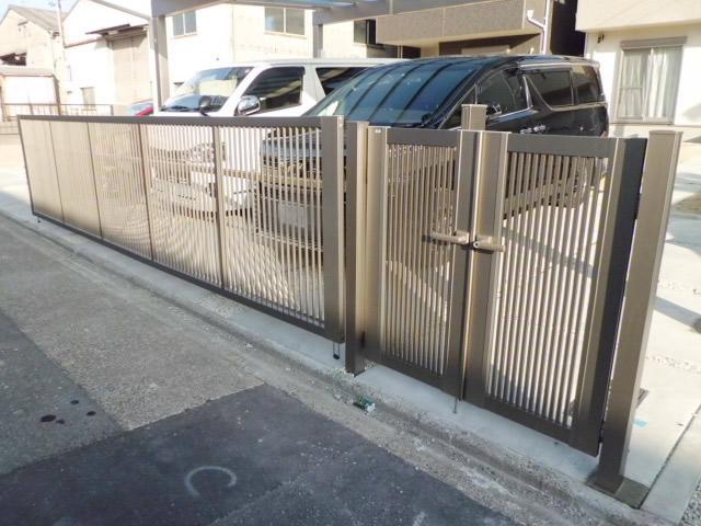 名古屋市港区 カーポート 跳ね上げ門扉 門扉新設工事
