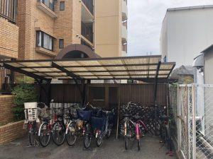 名古屋市東区 サイクルポート屋根(波板ポリカ)取替工事 マンション駐輪場