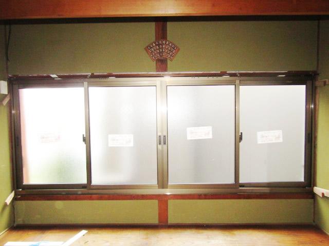名古屋市港区 木製サッシ→アルミサッシ リクシル 内付RSⅡ PG障子 4枚建