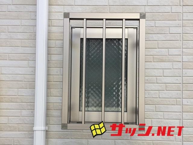 1階窓の防犯対策 アルミ面格子四方枠付タテ格子 施工事例 名古屋市熱田区