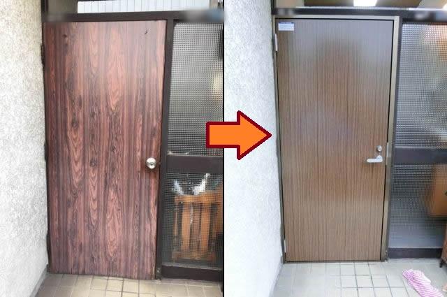 一戸建て住宅の木製玄関ドア取替 名古屋市港区