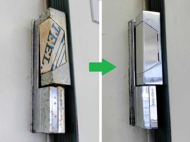 大型冷蔵庫扉の丁番破損、コーナーヒンジ修理交換 稲沢市