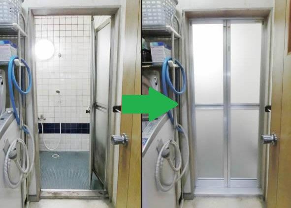 浴室中折れドア取替工事 名古屋市港区