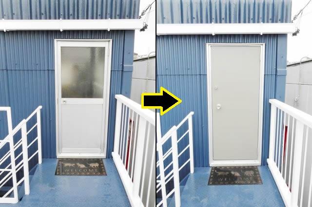 事務所入口ドア取替工事 リクシル ロンカラーフラッシュドア 豊明市