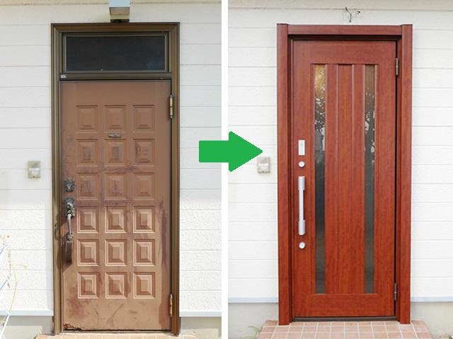 玄関ドアのリフォーム工事 LIXILリシェントII タッチキー仕様 津島市