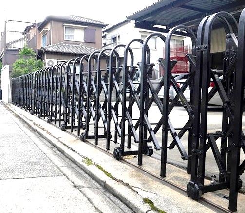 伸縮門扉取替工事 LIXIL ジャンボD1型 スチール 名古屋市港区