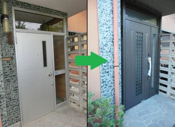 玄関リフォーム工事 LIXILリシェント親子ランマ付C20型 名古屋市守山区