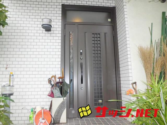 戸建玄関リフォーム LIXILリシェントII 親子ランマ付玄関ドア 名古屋市緑区