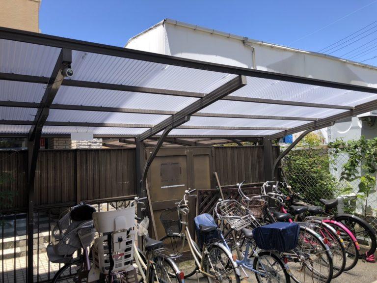 名古屋市東区 サイクルポート屋根(波板ポリカ)取替工事